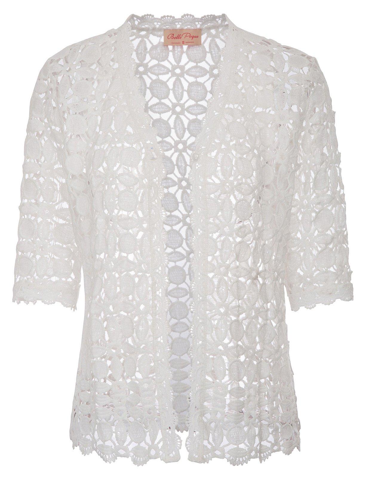 Belle Poque Women's Crochet Lace Cardigan Bolero for Party(L,White 564-1)