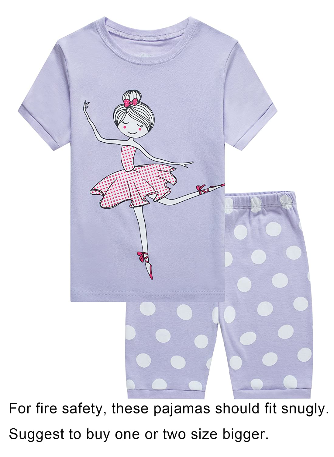 Family Feeling Deer Little Girls' Short Pajamas 100% Cotton Clothes 6M- 14Years