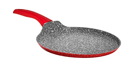 Aeternum Rubí Induction Placa Multiusos Crepiere, Aluminio, Rojo/Piedra, 28 cm