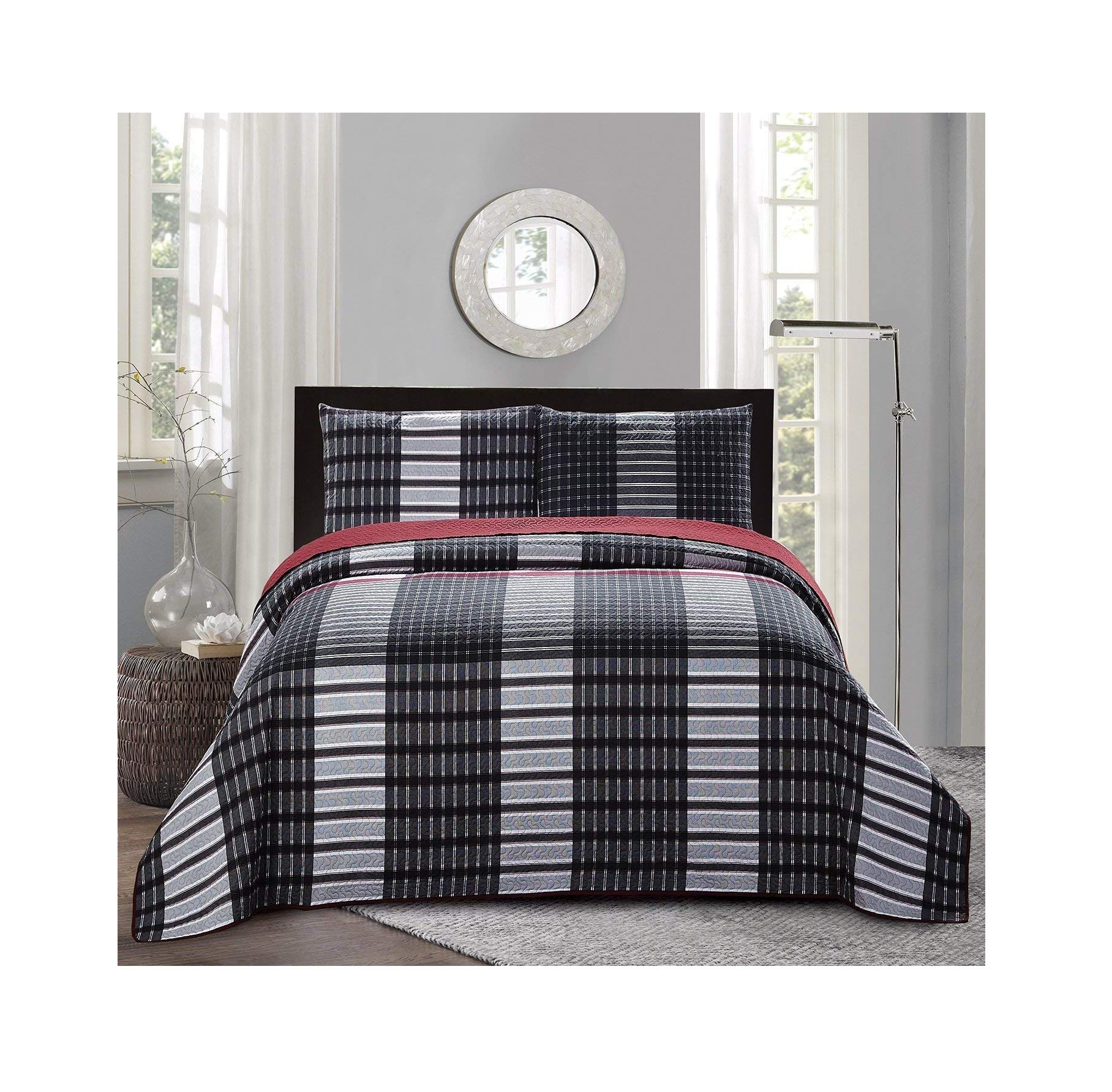 All American Collection New 3pc Plaid Printed Reversible Bedspread/Quilt Set (King / Cal King Size)