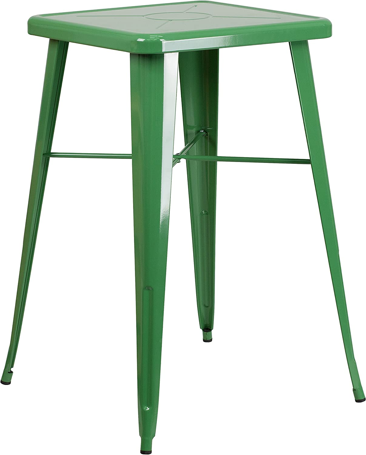 """Flash Furniture Commercial Grade 23.75"""" Square Green Metal Indoor-Outdoor Bar Height Table"""