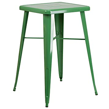 2856cc44cdc Image Unavailable. Image not available for. Color  Flash Furniture 23.75    Square Green Metal Indoor-Outdoor Bar Height Table