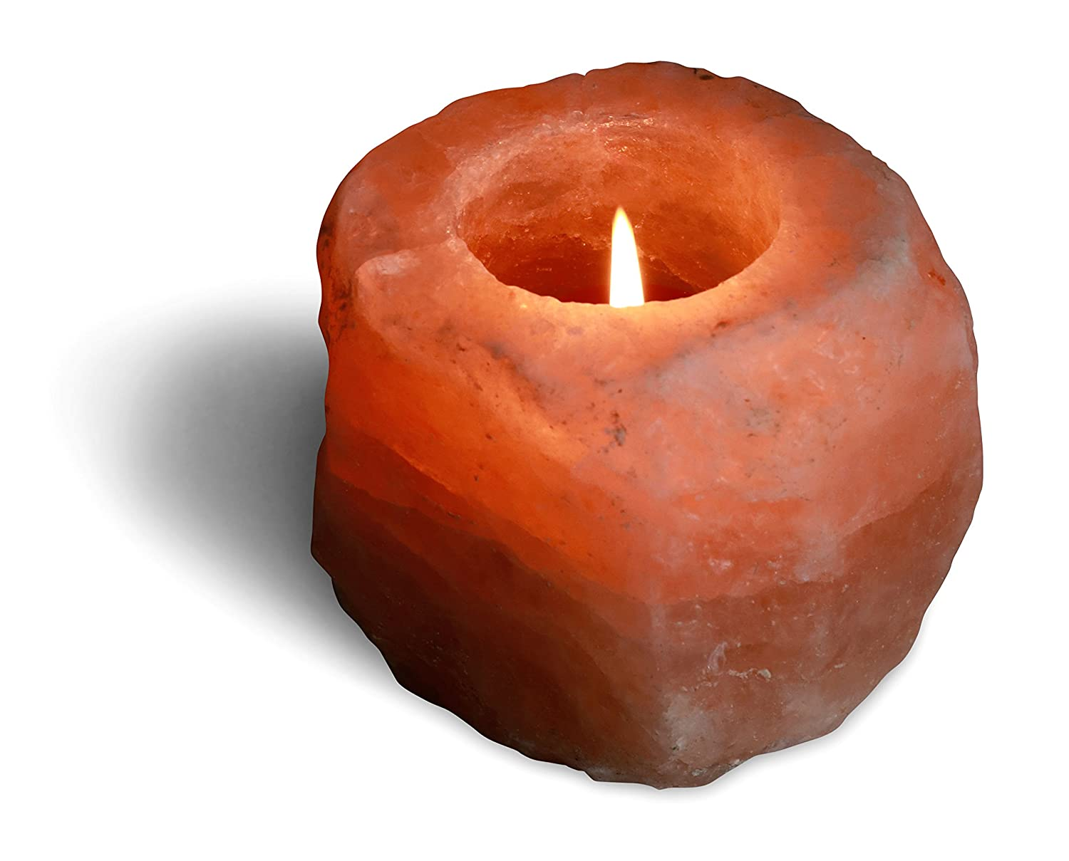 Natural Salt Candleholder - One Hole Himalayan Natural Crystal Salt Deluxe Comfort NSCAN-AB-ONE