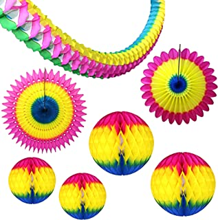 product image for 7-Piece Rainbow Multi-Colored Honeycomb Party Decoration Set - Balls, Fans, Garland (Cerise Yellow Blue)