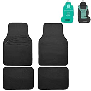 FH Group F14401 Premium Carpet Floor Mats with Heel Pad, Black Color w. Free Air Freshener- Fit Most Car, Truck, SUV, or Van