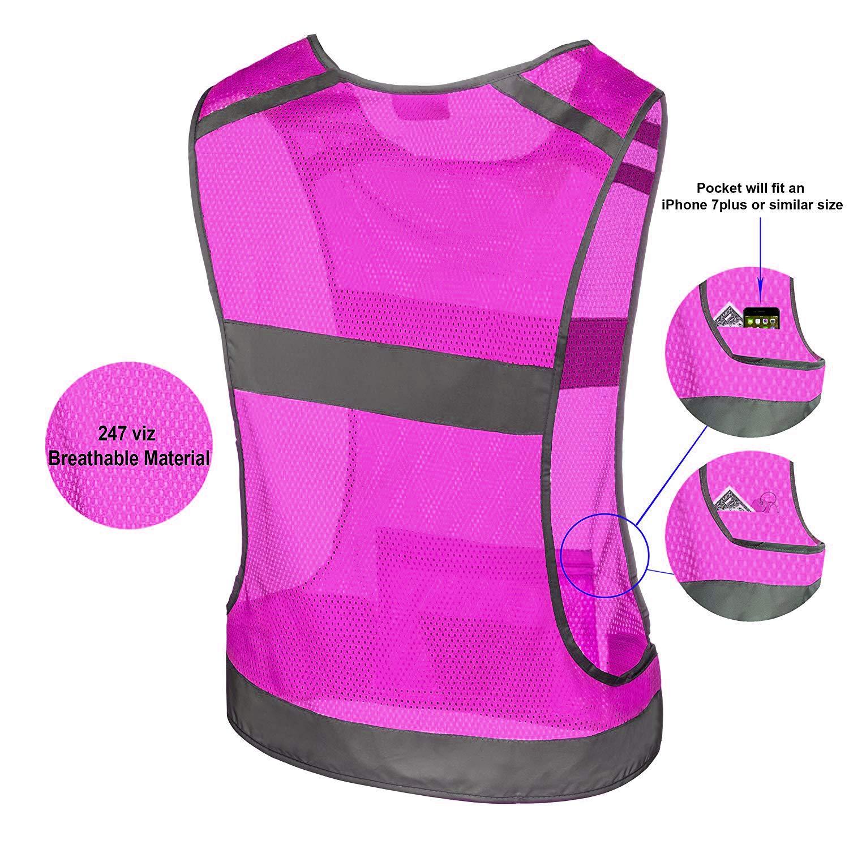 247 Viz Reflective Running Vest Gear | Stay Visible & Safe | Ultra Light & Comfortable Motorcycle Reflective Vest | Large Pocket & Adjustable Waist | Safety Vest | Free Bands (Pink, Medium) by 247 Viz (Image #4)