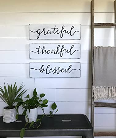 Amazoncom Woodensign Living Room Decor Grateful Thankful Blessed