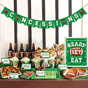 Football Concessions Bar Decoration Kit - Concession Stand Banner Sign Snack Tents for NFL Thanksgiving Games Family Gathering Party, Super Bowl Sunday, Game Day Sports Fan Decor