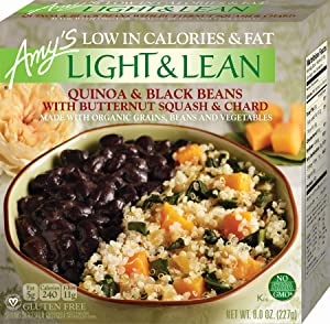 Amy's Light & Lean Quinoa and Black Beans with Butternut Squash & Chard Bowl, Non GMO, 8-Ounce