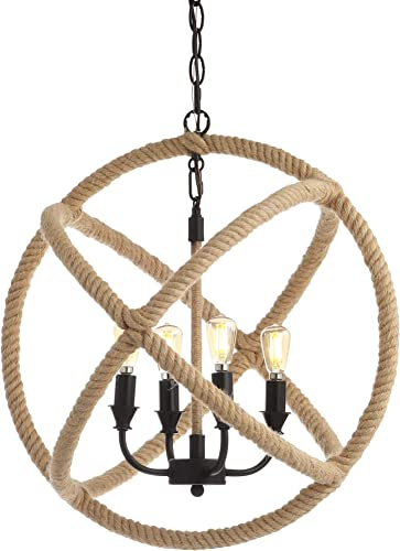 JONATHAN Y JYL9041A Soka 4-Light 20″ Adjustable Globe Metal/Rope LED Chandelier