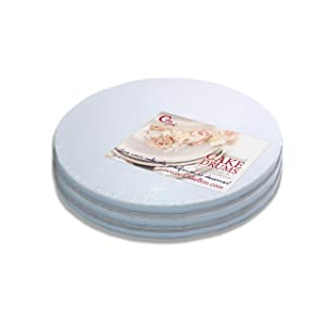 Cake Drums Round 12 Inches - (White, 3-Pack) - Sturdy 1/2 Inch Thick - Professional Smooth Straight Edges