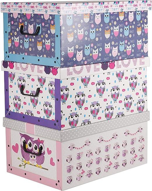3 DEBAJO DE LA CAMA PLEGABLE cartón Cajas Almacenaje Ligero Con Tapas & Tiradores - búho Violeta & Azul Diseño: Amazon.es: Hogar