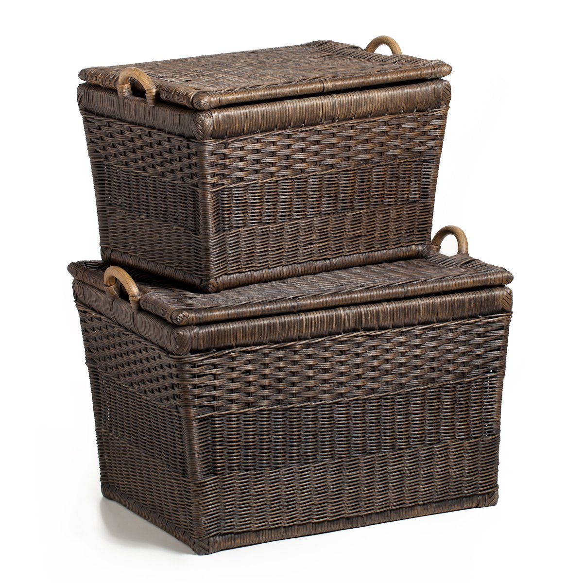 Amazon.com: The Basket Lady Lift-off Lid Wicker Storage Basket, Large,  Antique Walnut Brown: Home u0026 Kitchen
