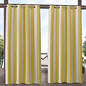 Exclusive Home Curtains Canopy Stripe Indoor/Outdoor Grommet Top Curtain Panel Pair, 54x84, Sunbath/White