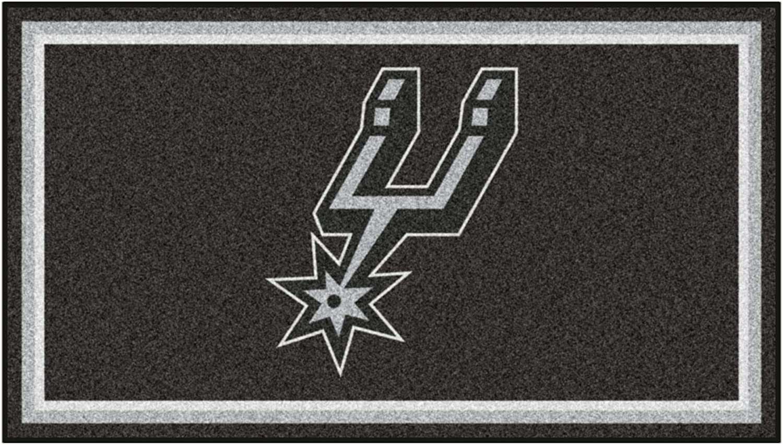 Area Rug FANMATS NBA San Antonio Spurs 3 Ft x 5 Ft Area RUG3 Ft x 5 Ft Black 3 x 5