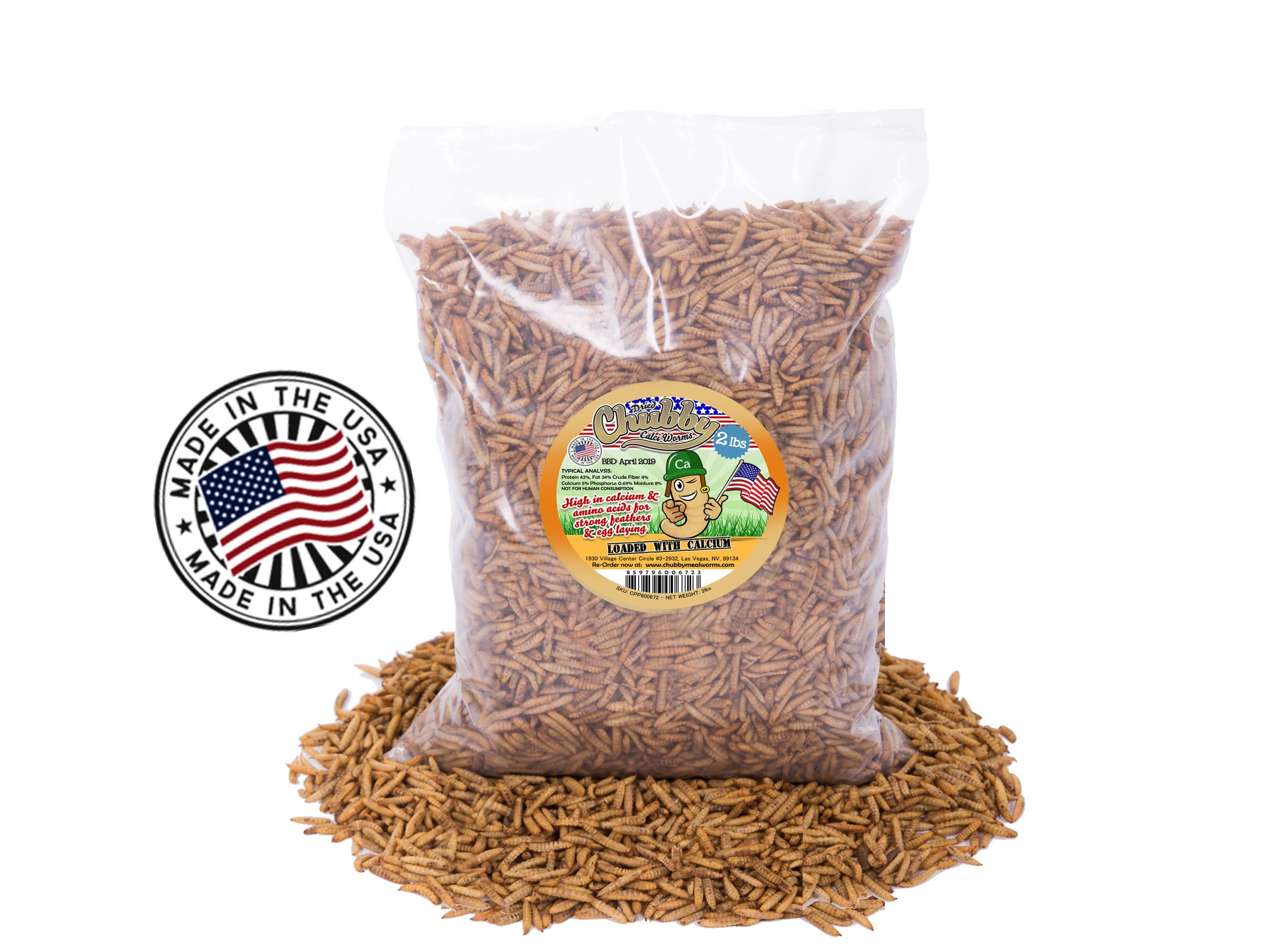 2Lbs Chubby Dried Calci Worms - 100% MADE IN THE USA - Black Soldier Fly Larvae - Wild Bird / Chicken Treats