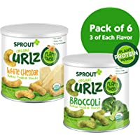 Sprout Pack of 6 1.48 Ounce Organic Curlz Toddler Snacks Variety Pack