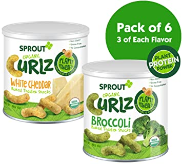 Sprout Organic Curlz Toddler Snacks, Variety Pack, 1.48 Ounce Canister (Pack of 6) 3 of Each: White Cheddar & Broccoli