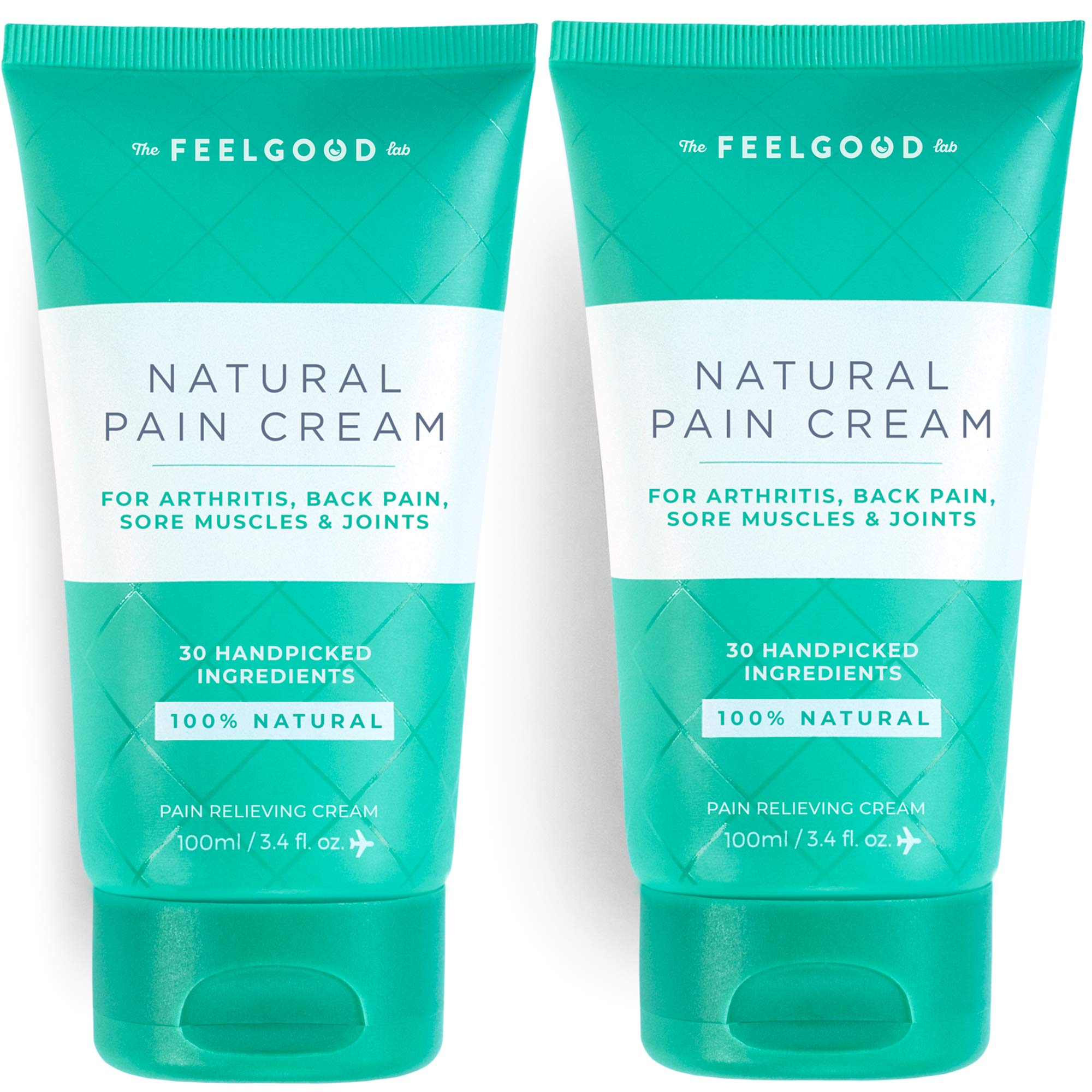 Natural Pain Cream by The Feel Good Lab - 100% Natural, Clean Ingredients - Pain and Soreness Relief for Muscles, Joints & Arthritis (3.4oz, 2 Count) by The Feel Good Lab