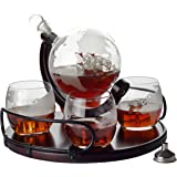 Whiskey Decanter Sets Globe Decanter for Alcohol – Newest Large Etched Globe Decanter for Men and Women with Wood Base…
