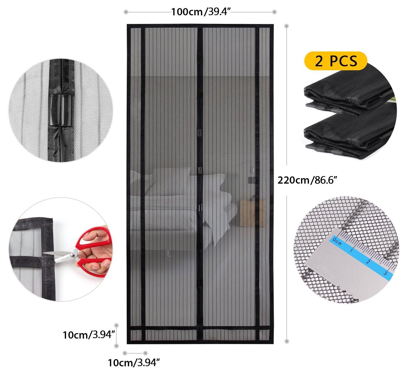 Sekey 2PCS 220x100 cm Rideau magn/étique anti-insectes id/éal pour porte de balcon Noir d/écoupable en hauteur et largeur Montage facile /à coller porte de cave porte de terrasse