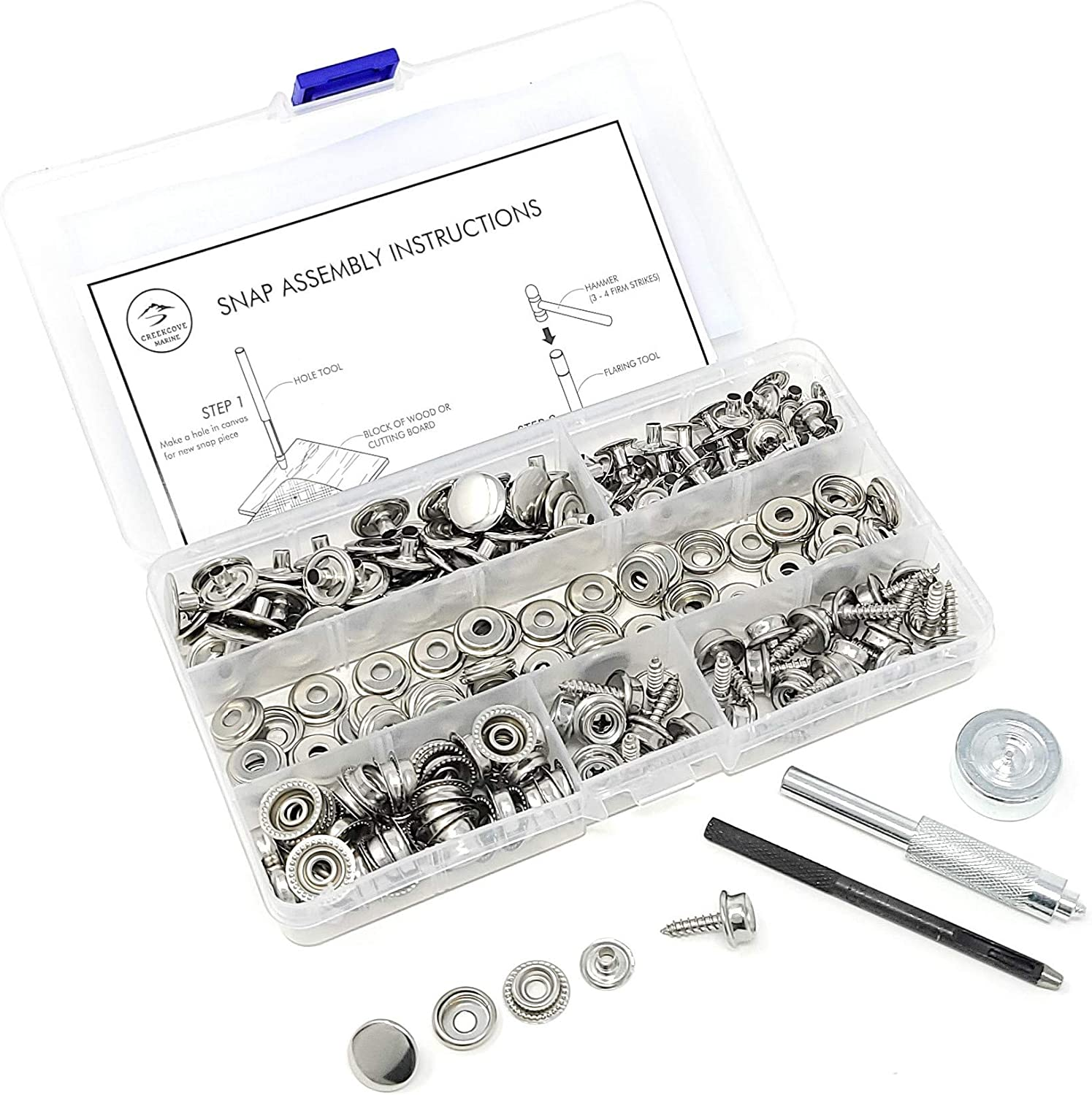CreekCove Marine 228 Piece Canvas Snap Kit Caps, 3//8 Sockets, 5//8 Screws, Fabric Base Components for DIY Repair Marine Grade Stainless Steel Complete with Material Hole Punch and Setting Tools