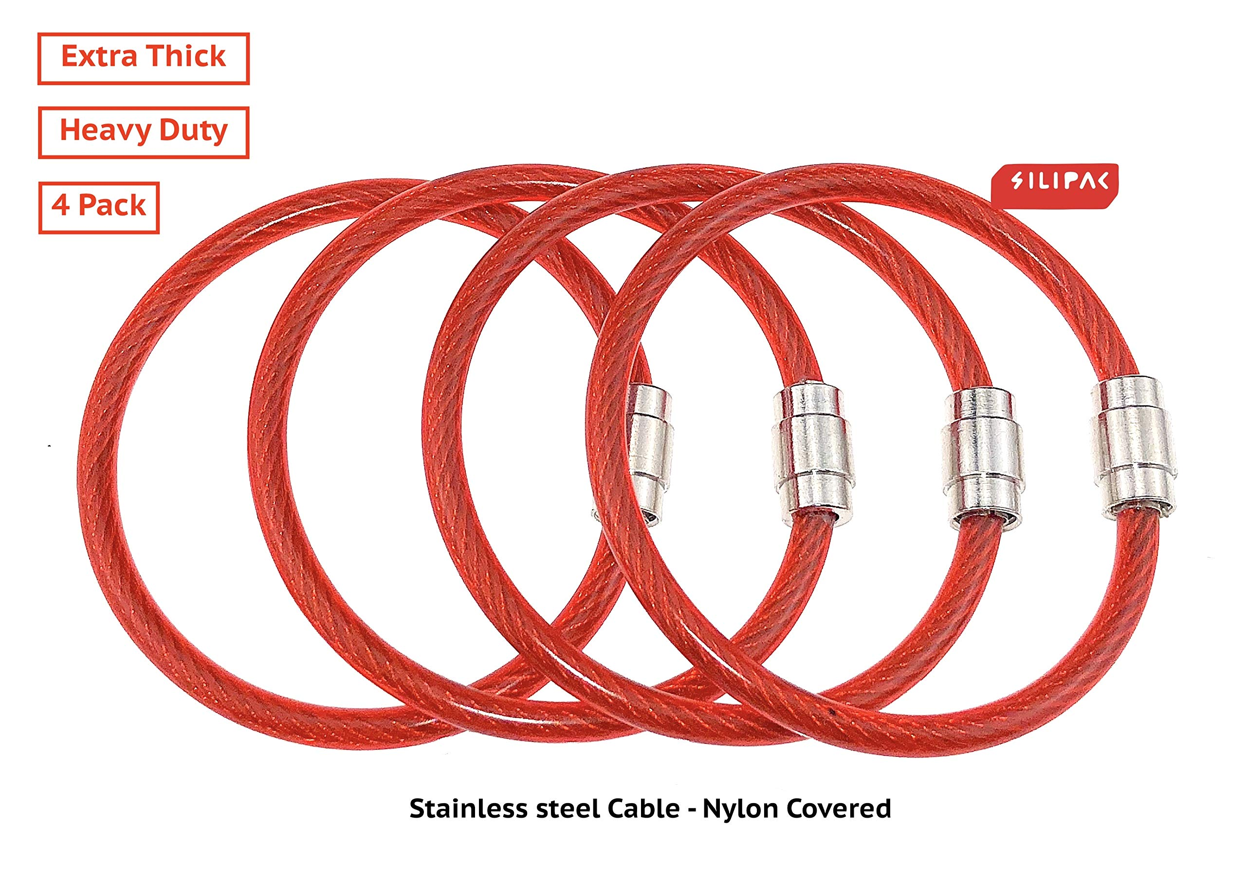 Silipac Extra Thick Heavy Duty Cable Key Ring Tough Stainless Steel Wire Durable Luggage Tag Loops Tags Keychains Car Cables Keys Rings Pack of 4 (Extra Thick 4mm, Red) by Silipac (Image #2)