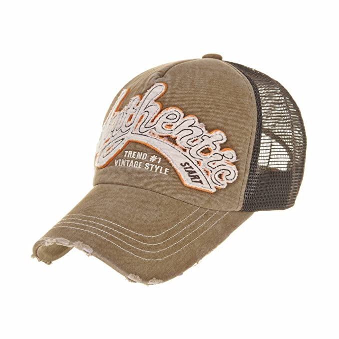 WITHMOONS Gorras de béisbol Gorra de Trucker Sombrero de Baseball Cap Meshed Distressed Patched Trucker Cap KR1186 (Brown): Amazon.es: Ropa y accesorios