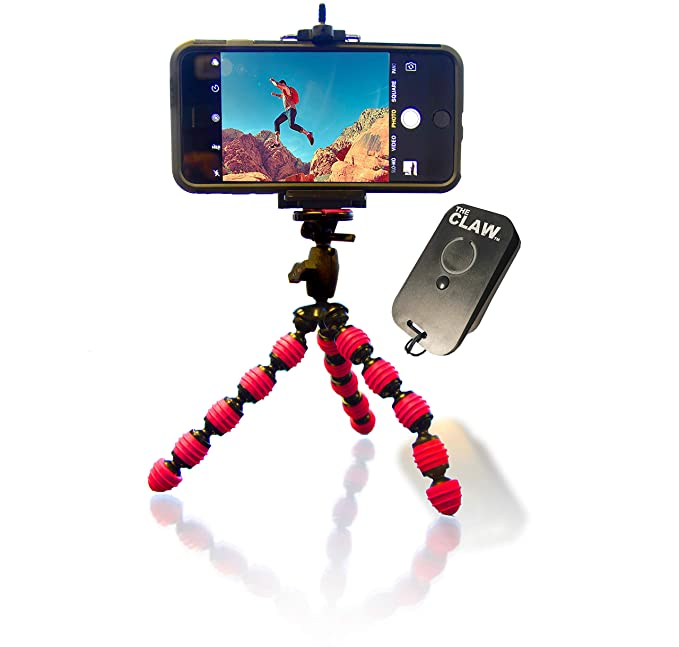 sale retailer 03a26 acdf1 Flexible Tripod Bundle for iPhone XR XS X 8 7 6 - USB Rechargeable Remote  for iOS iPhone Compact Bendable Smartphone Mount Locking Head Peak Design,  ...