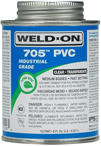 Weld-On 10097 705 Industrial Grade PVC Medium-Bodied High Strength Solvent Cement - Fast-Setting and Low-VOC, Clear, 1/2 Pint (8 fl oz): Amazon.com: Industrial & Scientific
