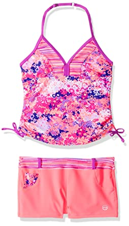 ff1be24534 Free Country Petals Tankini with Adj Strap & Short Big Girls, Calypso  Coral, ...