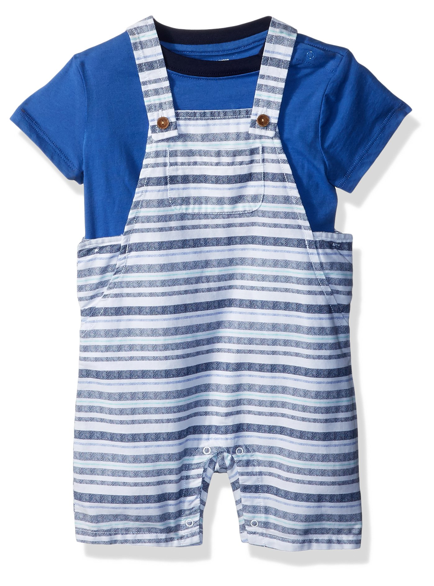 Gymboree Boys' Toddler' Short Sleeve Striped Overall Set, Gym Navy, 12-18 mo