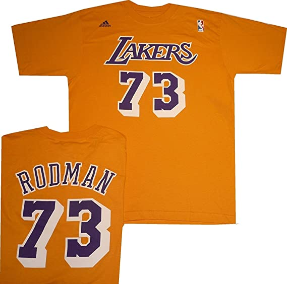 01a232bbbe3 ... 73 yellow authentic jersey sale 7ab1a ca240  sweden amazon los angeles  lakers dennis rodman throwback adidas t shirt sports fan t shirts sports