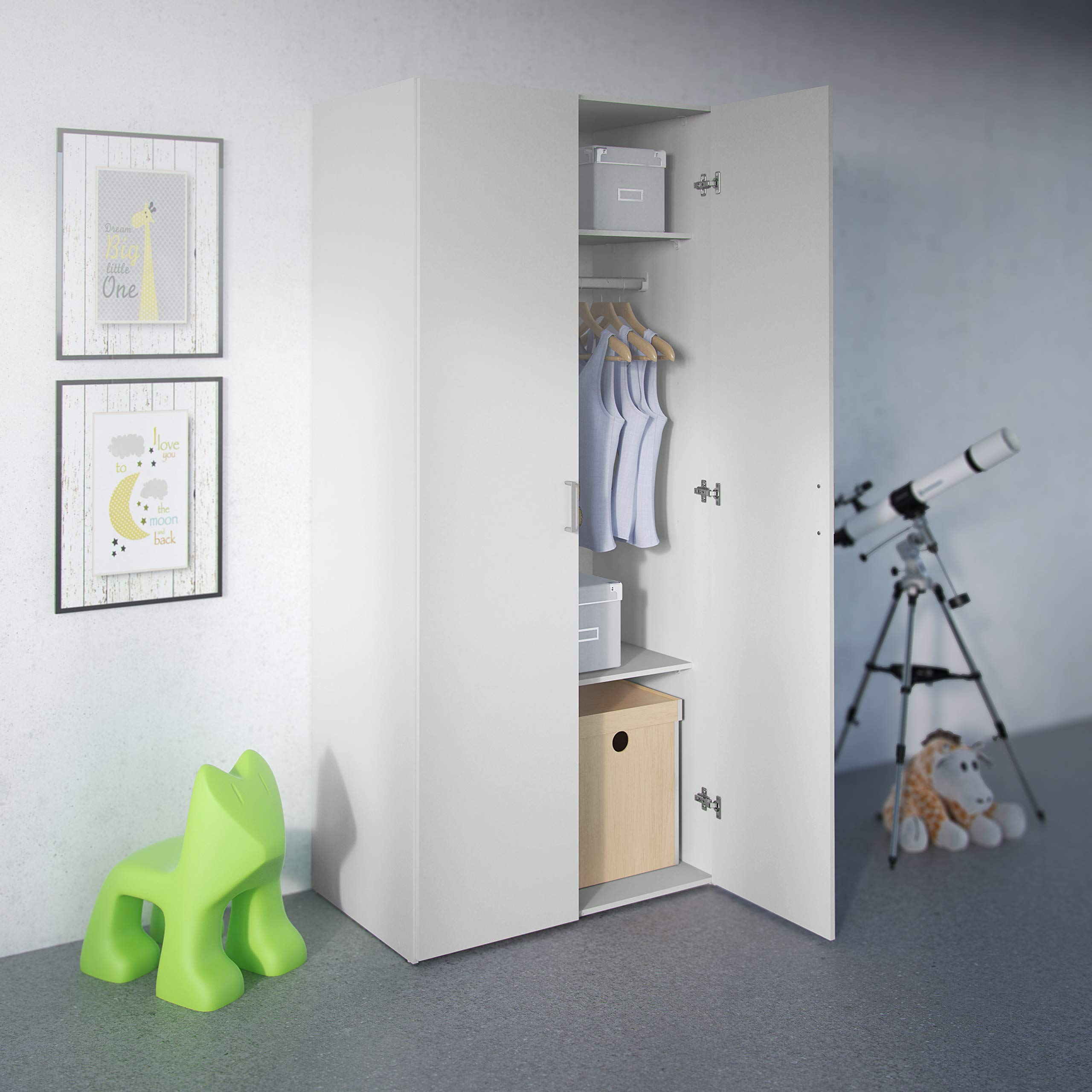 Tvilum Space Wardrobe with 2 Doors, White by Tvilum