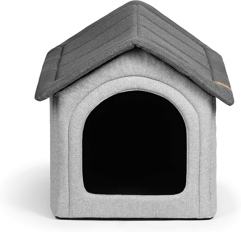 R Exproduct Home Premium - Caseta para Perros, casa para Animales, Plegable, Resistente al Agua, Resistente a los arañazos, Color Gris, M (32 x 38 x 38 cm)