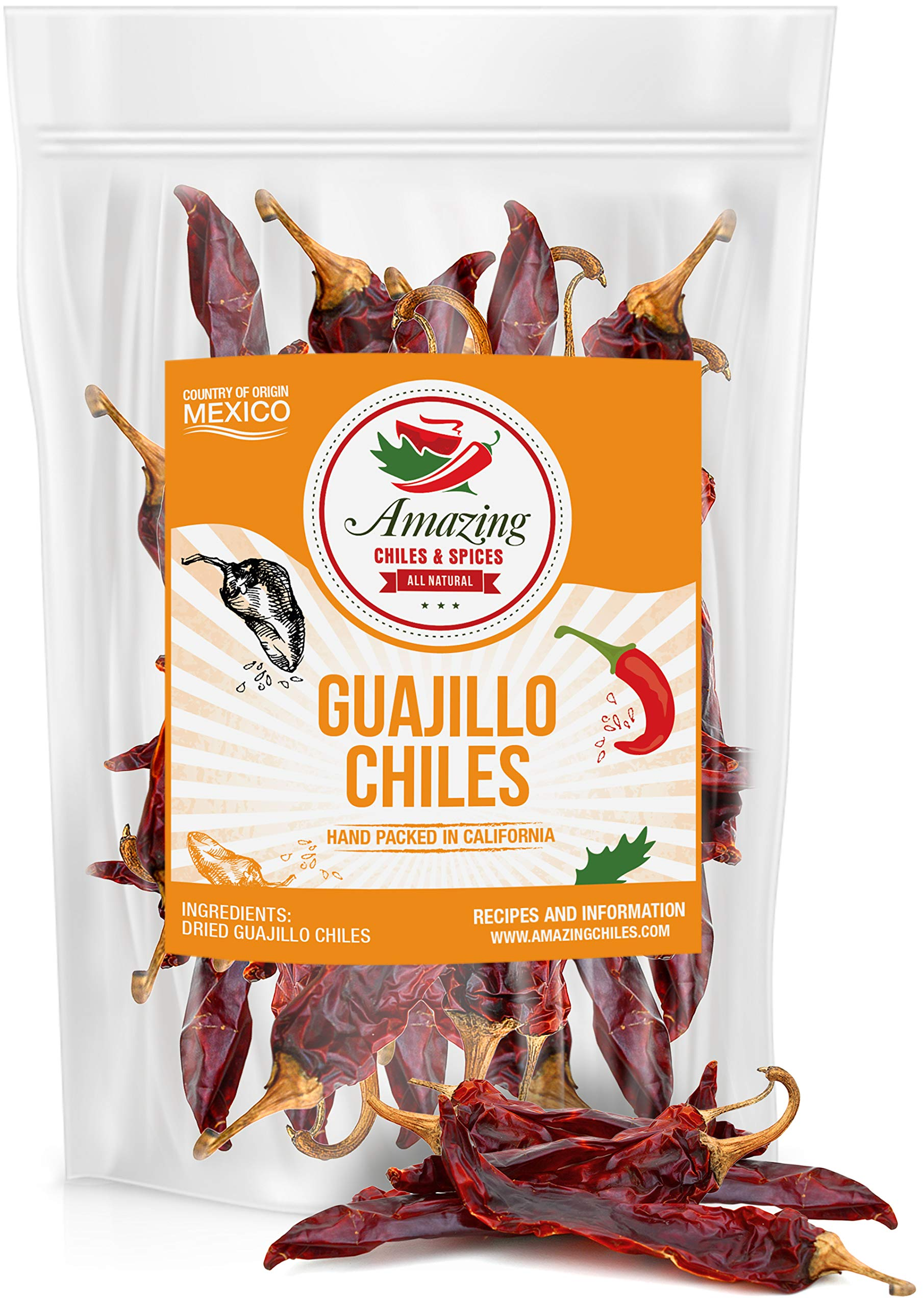 Guajillo Chiles Peppers Dried Whole 5 oz – Natural and Premium. Great For Mexican Recipes Like Mole, Tamales, Salsa, Meats. Mild to Medium Heat, Complex Fruity Flavor. Resealable Bag.…