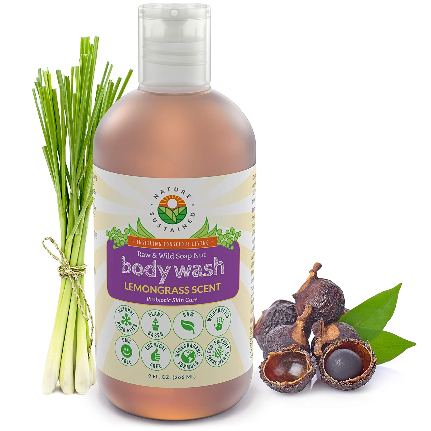 Pure, Sensitive Skin Natural Body Wash & Face Wash [Lemongrass] – Raw Probiotic Soapberry Formula (pH Balanced) for Eczema & Psoriasis - Wild Plants Selected for Sensitive & Dry Skin