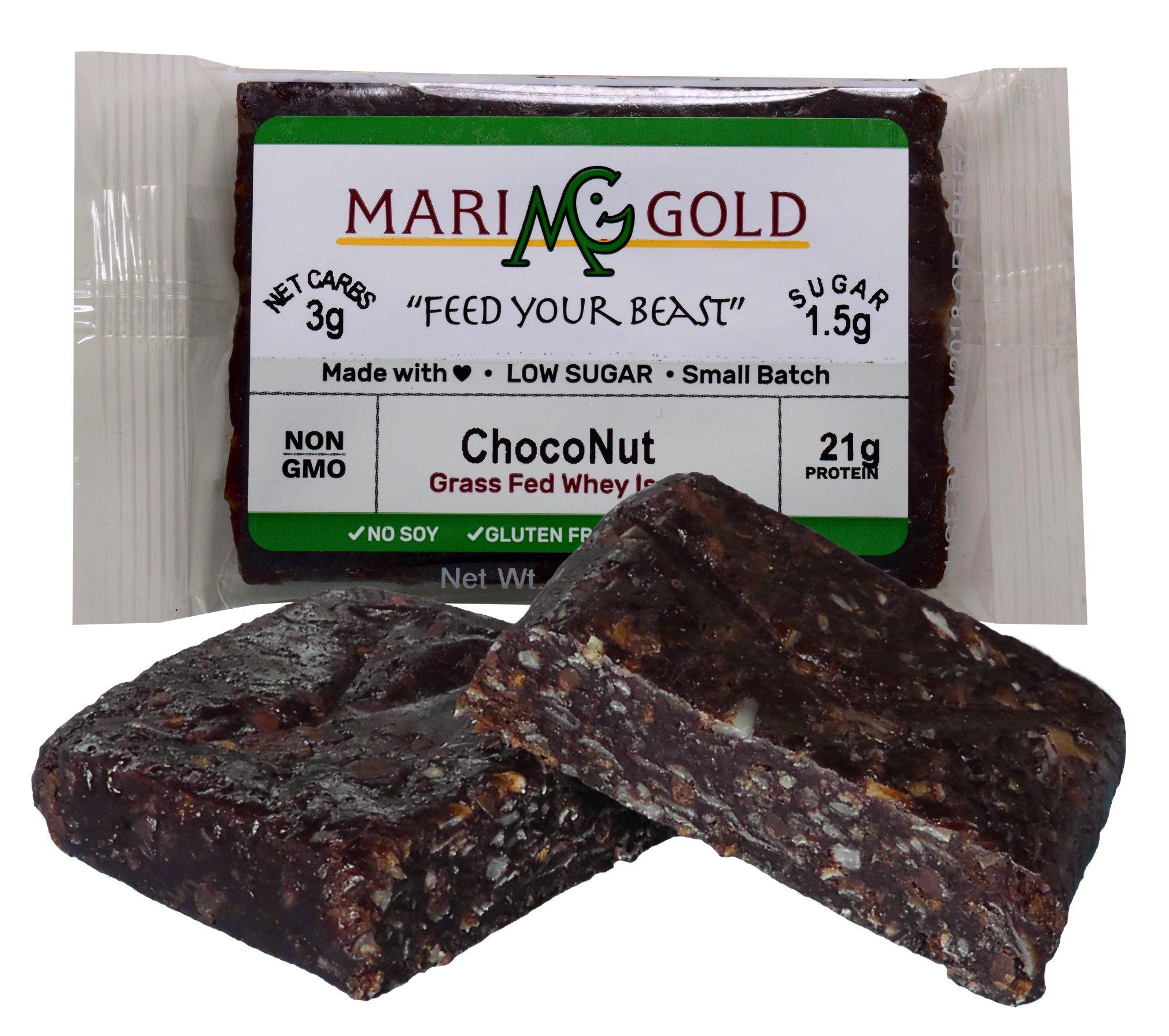 Keto (2-3 NET CARB) Protein Bar by MariGold - Amazing Taste Ketogenic Snacks - Organic Fats, 1 g Sugar, 21 g Protein GRASS FED Whey - Non GMO. Made Fresh, Ships Fresh. (12 bars) by MariGold Bars (Image #7)