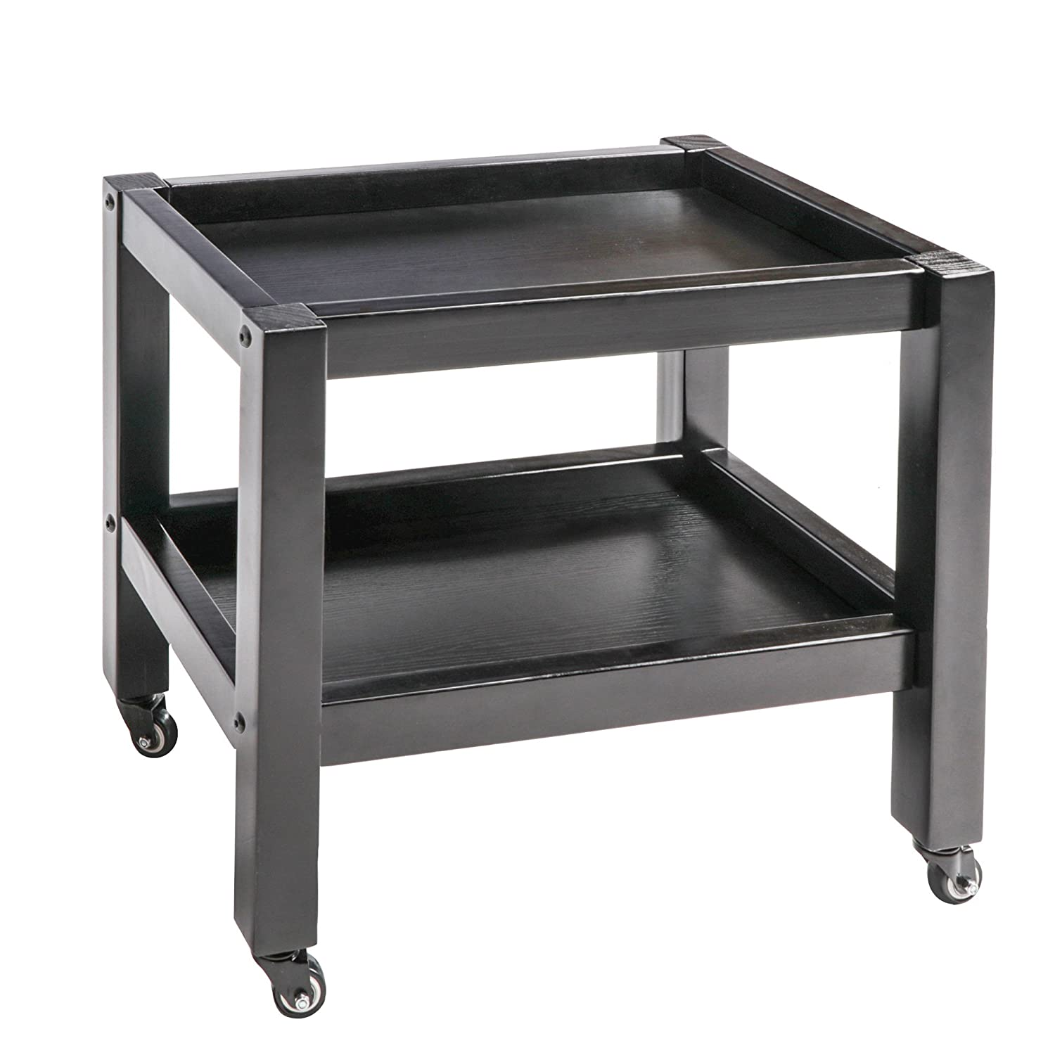 Master Massage Wooden 2-Tier Rolling Cart Mobile Trolley with Wheels for Salon Spa Tattoo Clinics Office Home Use, Black