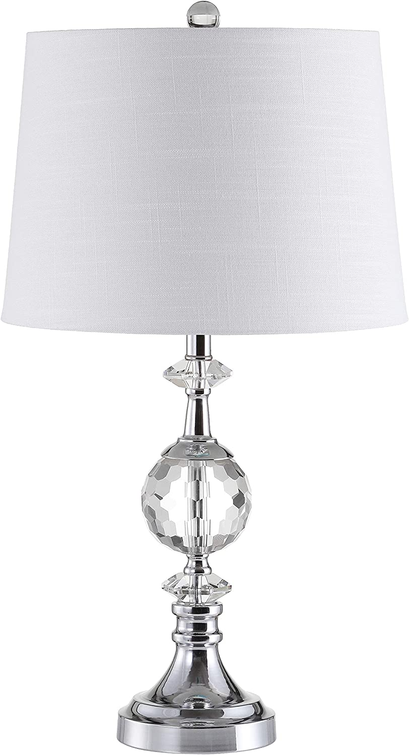 """JONATHAN Y JYL5036A Channing 25.5"""" LED Crystal/Metal Lamp Glam,Contemporay,Transitional for Bedroom, Living Room, Office, College Dorm, Coffee Table, Bookcase, Clear/Chrome"""