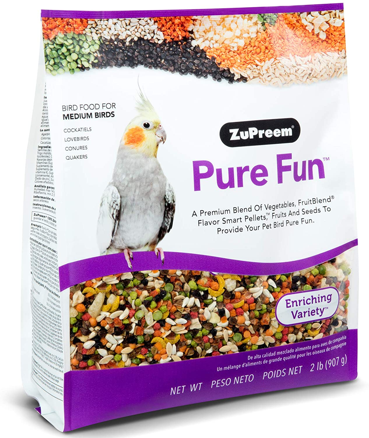 ZuPreem Pure Fun Bird Food for Medium Birds - Powerful Blend of Vegetables, Natural FruitBlend Pellets, Fruit, Seeds for Lovebirds, Quakers, Small Conures, Cockatiels