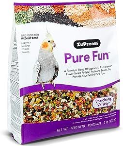 ZuPreem Pure Fun Bird Food for Medium Birds - Powerful Blend of Vegetables, Natural FruitBlend Pellets, Fruit, Seeds for Lovebirds, Quakers, Small Conures, Cockatiels (Medium Birds 2 lb Bag (2-Pack))