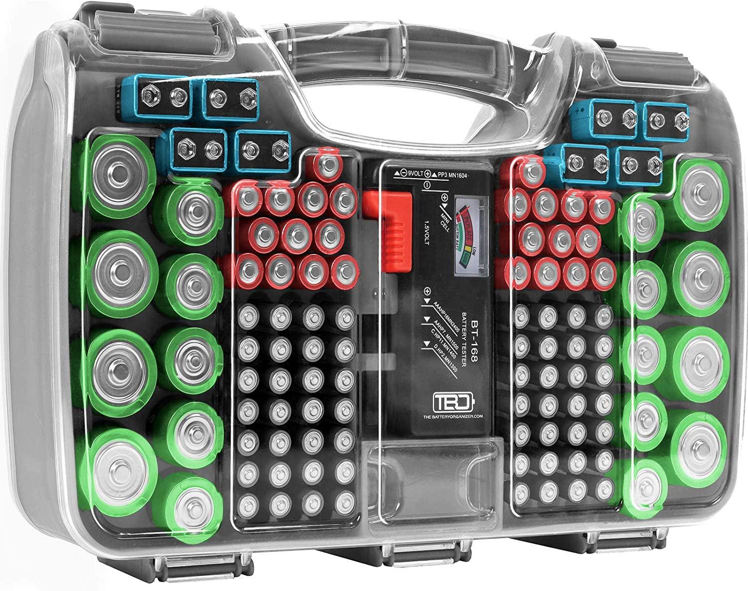 The Battery Organizer Storage Case with Hinged Clear Cover, Includes a Removable Battery Tester, Holds 180 Batteries Various Sizes Gray…, Model Number: TBO2699