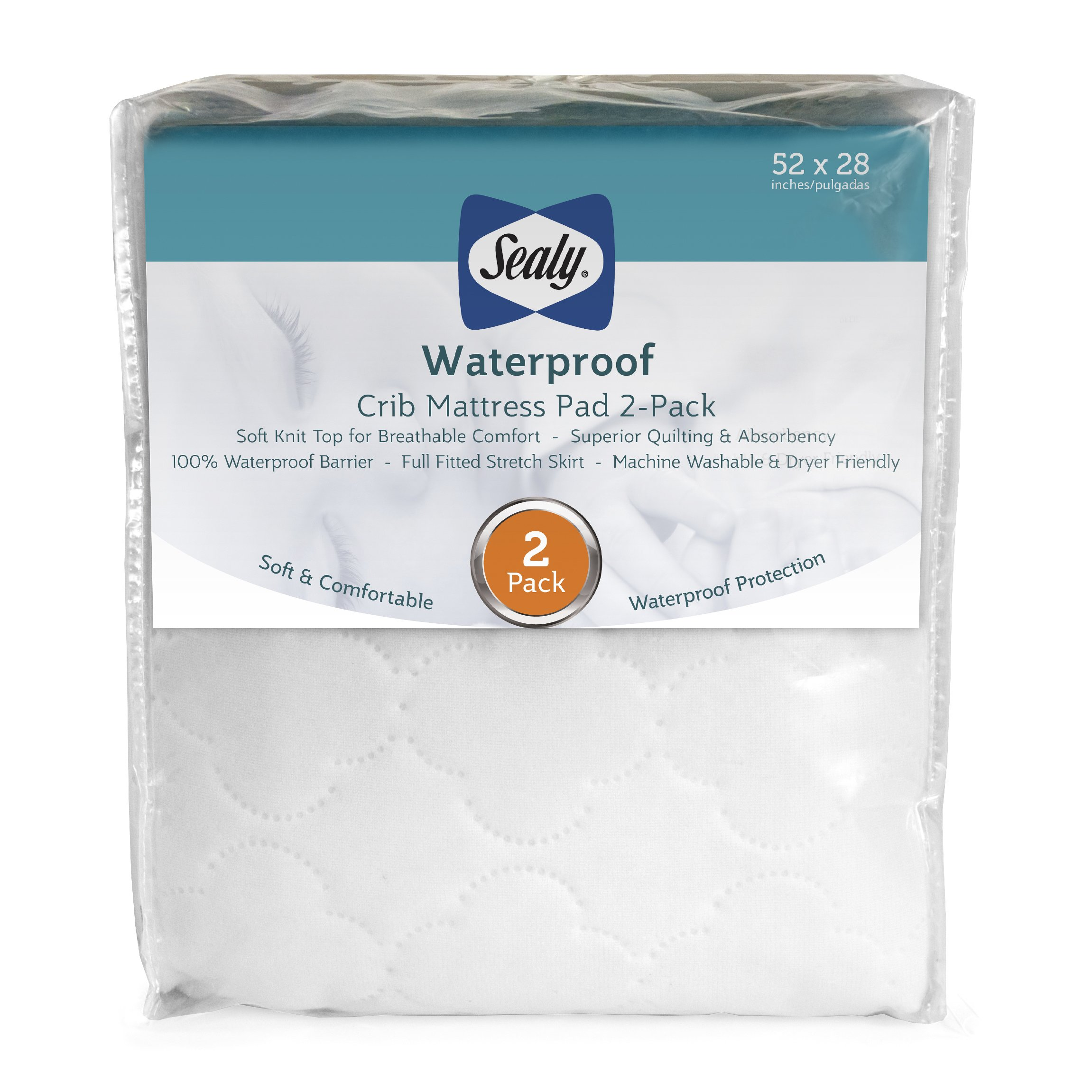 "Sealy Waterproof Fitted Crib/Toddler Mattress Pad Cover 2-Pack - 100% Waterproof, Deep Fitted Stretch Skirt, Machine Washable & Dryer Friendly 52""x28"" - 2 Protector Pads (White)"