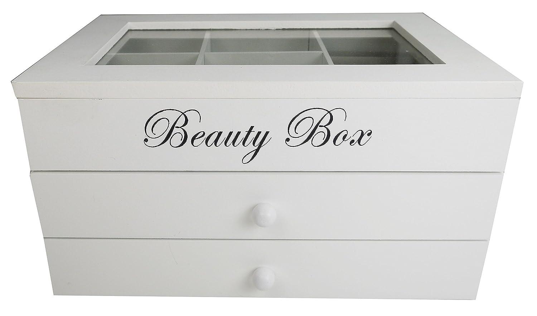 Khevga Boîte à bijoux femme, fille, bois blanc avec vitre en verre J17081601