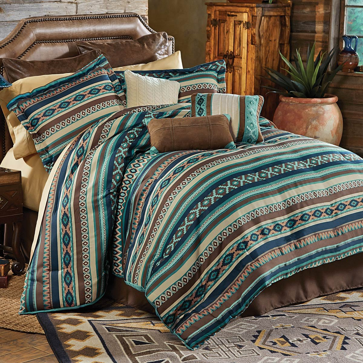 Amazoncom Turquoise River Southwestern Bed Set Queen