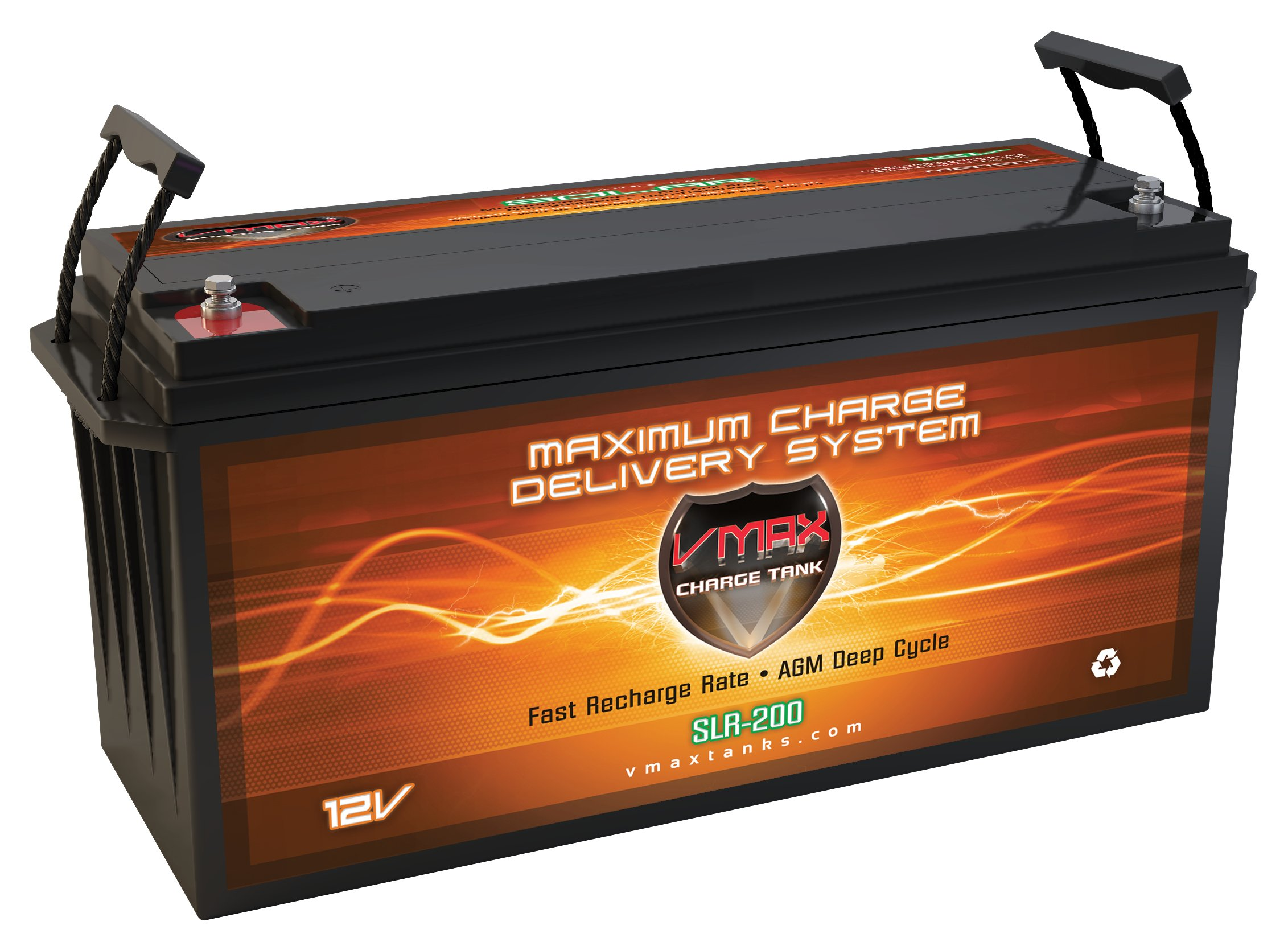 Vmaxtanks VMAXSLR175 AGM deep cycle 12V 175AH Rechargeable battery for Use with PV Solar Panel wind turbine gas or electric power backup generator or smart charger for off grid sump pump lift winch pallet jack and any other heavy duty application by VMAX Solar