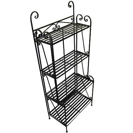 Pangaea Home And Garden Folding Piper Bakers Rack Four Shelves   Black