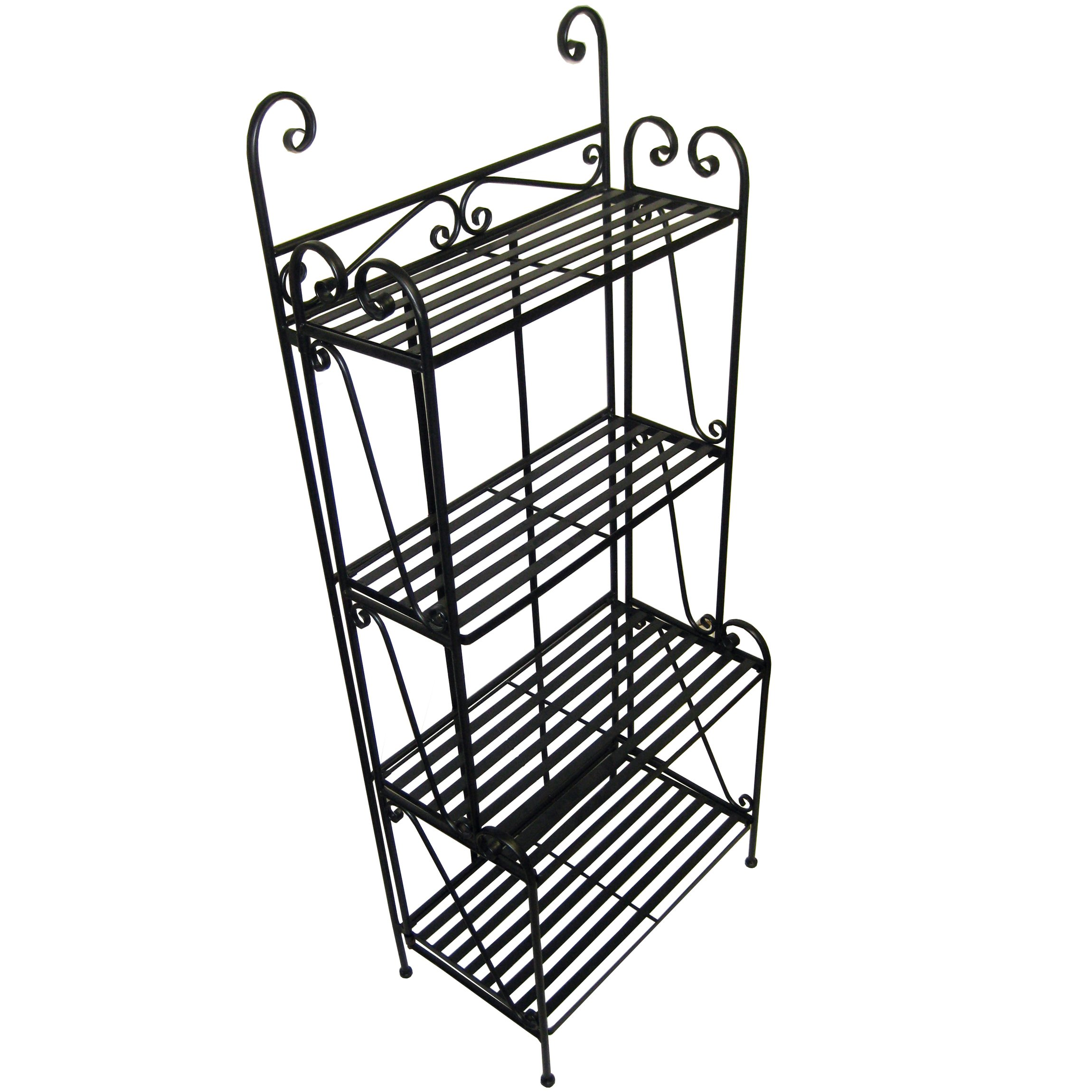 Folding Piper Bakers Rack Four Shelves - Black by Pangaea Home and Garden