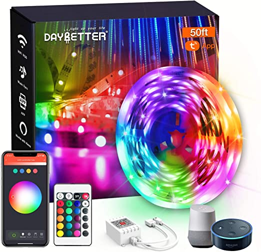 DAYBETTER Smart WiFi Led Lights 50ft, App Controlled Led Strip Lights Kits, Work with Alexa and Google Assistant, Timer Schedule Led Lights Strip, Color Changing Led Lights for Bedroom Party Kitchen